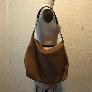 Calvin Klein Faux Suede Brown Slouchy Hobo with Ch